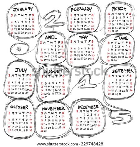 doodles hand drawn  calendar for 2015 on white background. Vector EPS10. - stock vector