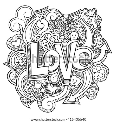 abstract coloring pages with words | Adult Coloring Book Coloring Page Word Stock Vector ...