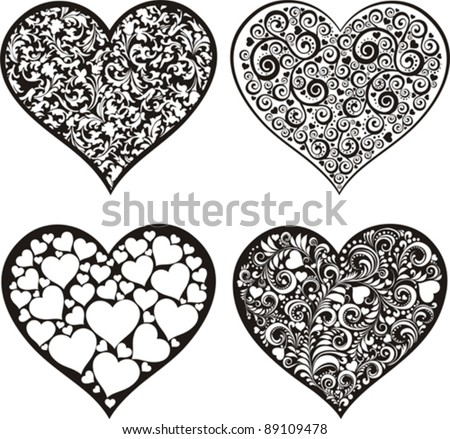 doodles hearts set isolated on White background. Happy valentine day decor. Vector illustration - stock vector
