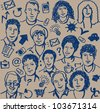 Doodles ink business icon and sketch of people seamless pattern. Hand-drawn sketch of unrecognizable business people and objects. Blue ink on the beige background. Vector illustration. - stock vector