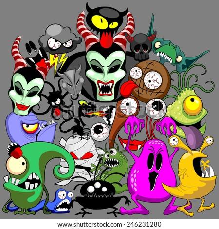 Doodles Monsters Characters Saga - stock vector