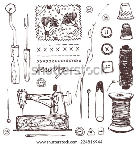 doodles of sewing elements - stock vector