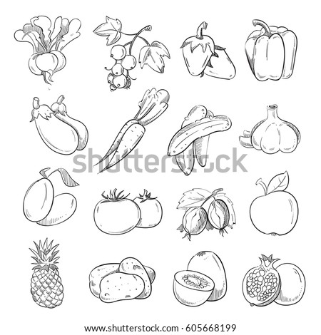 doodles of vegetables and fruits hand drawing vegan cooking food icons cucumber and pepper