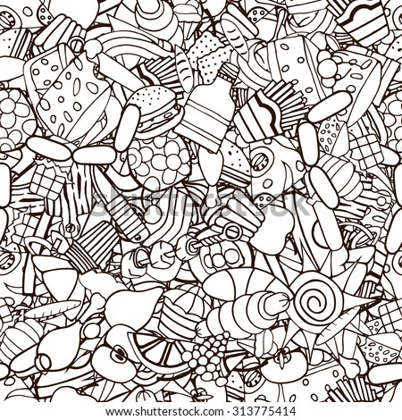 Doodles on the subject of fast food and sweets seamless pattern. Cartoon vector hand-drawn  - stock vector