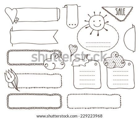 Doodles set of labels in the lines. Use the image of a tulip, sun, rabbit hearts. As well as the different types of lines. - stock vector