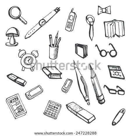 Doodles set of office supplies. Editable vector illustration - stock vector