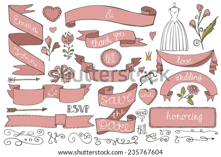Doodles swirl border,arrow,heart,ribbon,flower,love decor elements set.For design template,invitation,save date,RSVP.Hand drawing style.Wedding,Valentine ,bridal shower Vector - stock vector