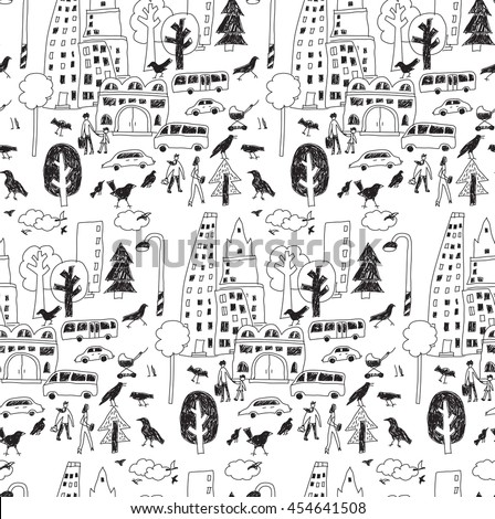 Doodles urban city life street objects black seamless pattern. Monochrome vector illustration. EPS8