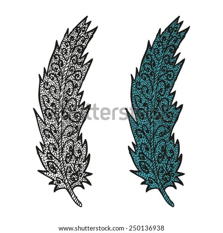 Doodling hand drawn amazing feathers with patterns, contour and colorful, vector illustration - stock vector