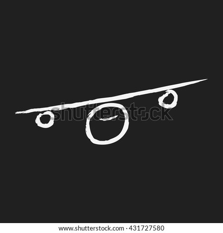 doodlw drawing airplane - stock vector