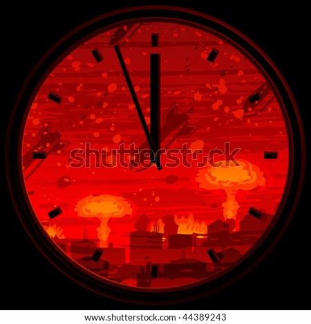 Doomsday clock showing 3 minutes to midnight against nuclear war background (full size background landscape id 44319379) - stock vector