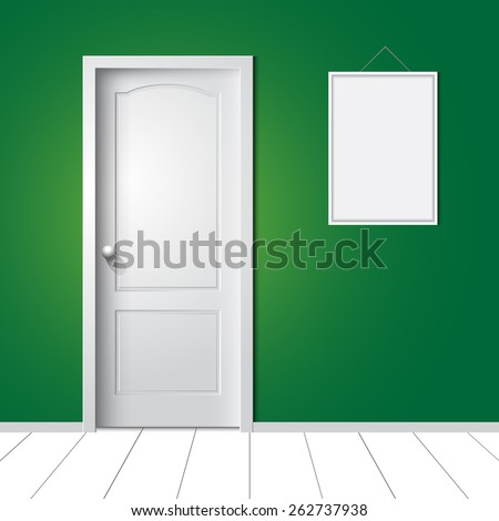 door and photo frame on the wall vector illustration