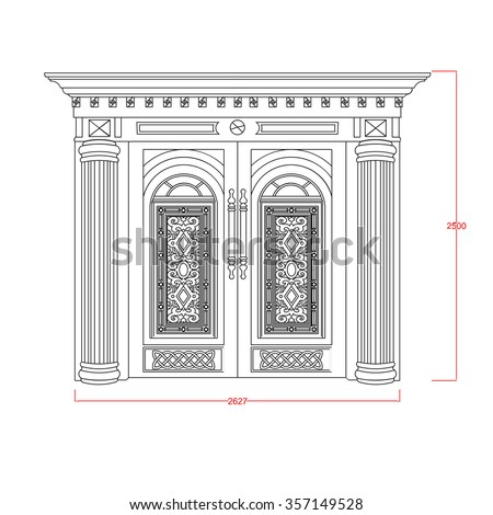 Door entrance vector design  architectural line - stock vector