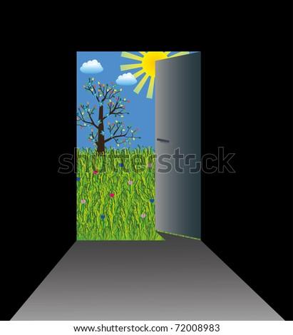 Door from dark room to sunny grassland - stock vector