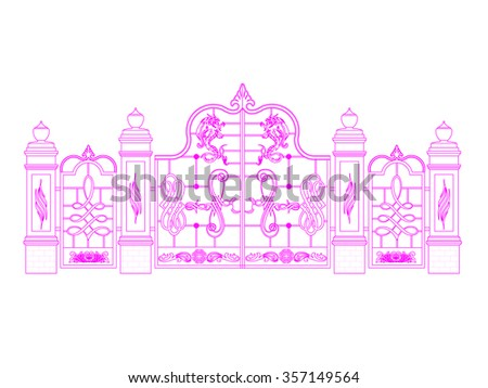 Door gate vector entrance line sketch middle and two sides  - stock vector