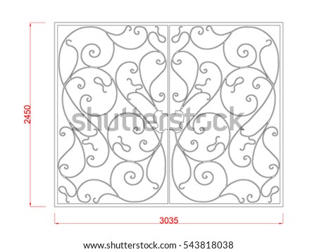 Door gate vector image with dimension black paint in the white background