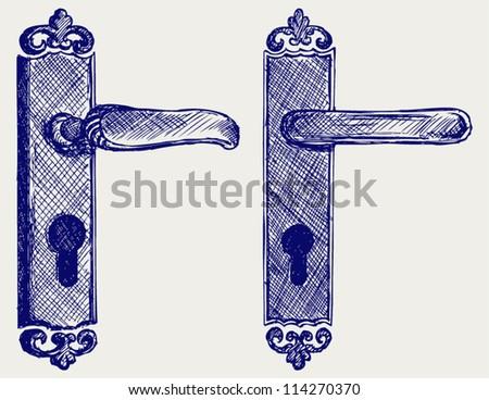 Door handle. Doodle style - stock vector