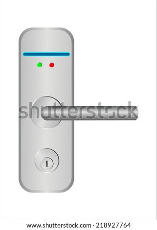 Door handle with electric lock requested. Vector illustration. - stock vector