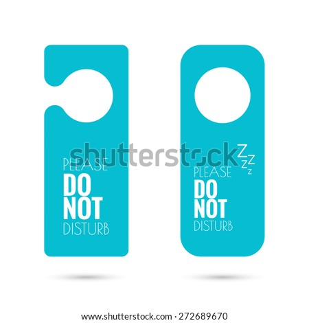 door hanger set. do not disturb. blue - stock vector