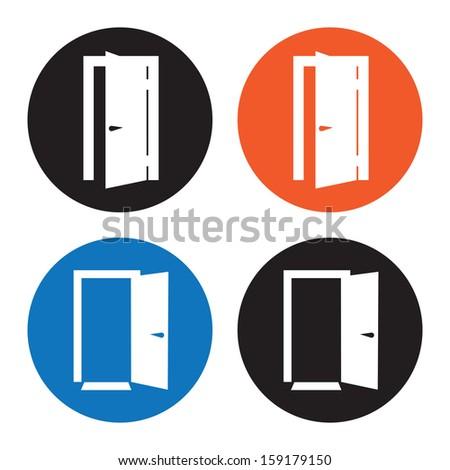 Open Door Icon Vector Door Icons Stock Vector