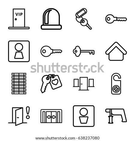 house key outline. Door Icons Set. Set Of 16 Outline Such As Sliding Doors, Man House Key