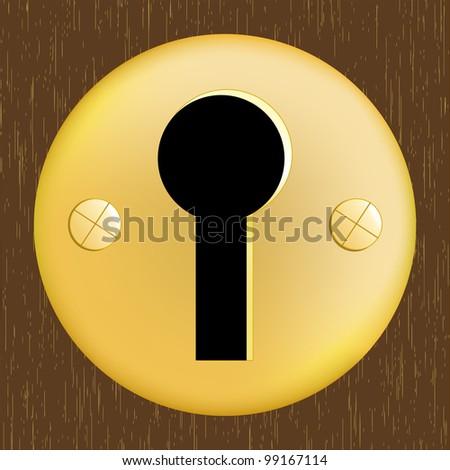 Door keyhole of golden metal on dark wooden door - stock vector