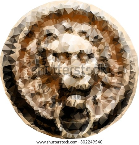 door knocker in the shape of a lion's head, in low-polygonal style, vector illustration isolated on white - stock vector