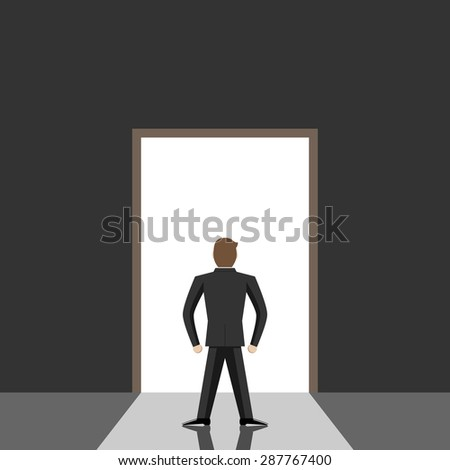 Door leading from dark gray room to bright daylight. Great dreams, opportunity, freedom, hope, faith and decision concept. EPS 10 vector illustration, no transparency - stock vector
