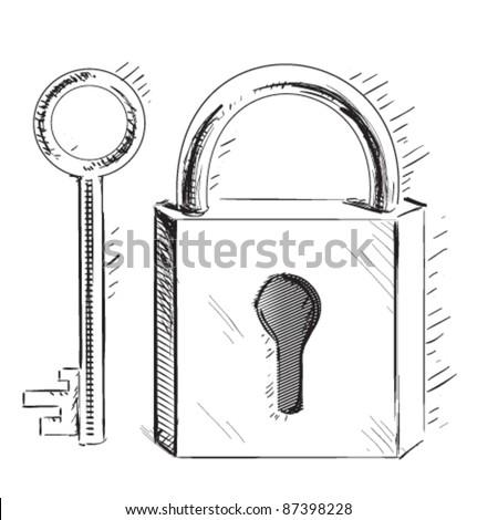 door lock and key cartoon. Door Lock And Key Sketch Cartoon Illustration