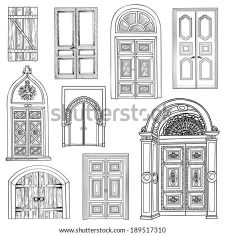 Door set. Collection of hand drawn sketch vintage doors. - stock vector