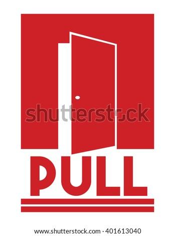 Door sign - pull - stock vector