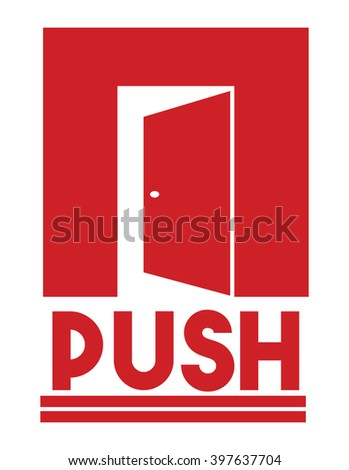 Door sign - push - stock vector
