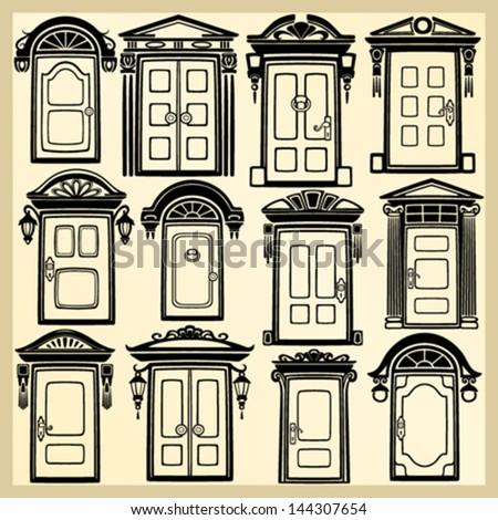 Door silhouettes - stock vector