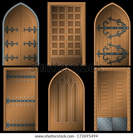 Door to the Middle Ages on a black background - stock vector
