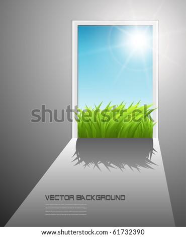 Door to the new better world, vector. - stock vector