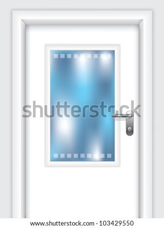 Door with dotted window and abstract background behind door - stock vector