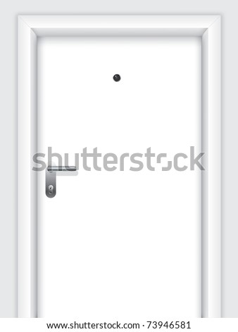 Door with handle, lock and viewer - stock vector