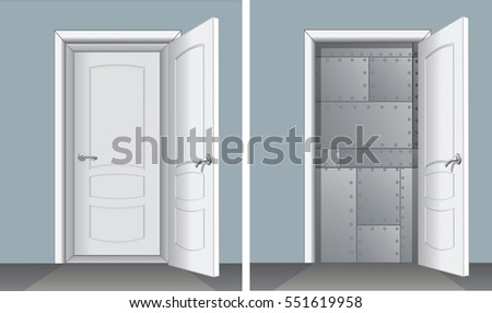Door with Second Entrance, and Metallic Plate Wall. Vector Image