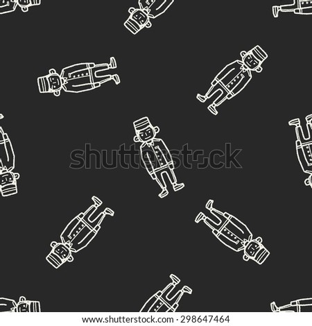 doorman doodle seamless pattern background - stock vector