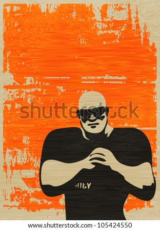 Doorman Poster, Bouncer on grunged paper background for an event or music gig - stock vector