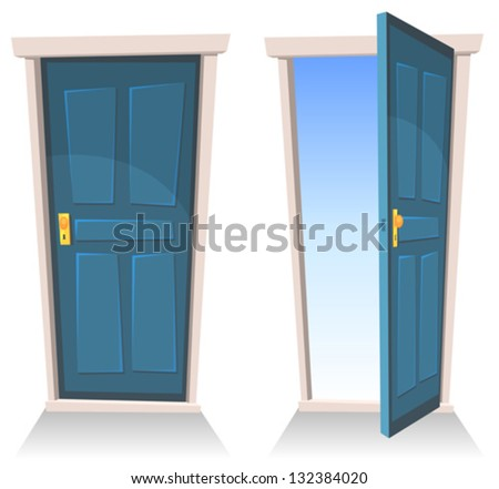 open front door illustration. Wonderful Door Doors Closed And Open Illustration Of A Set Cartoon Front Doors Opened  And Intended Open Front Door Shutterstock