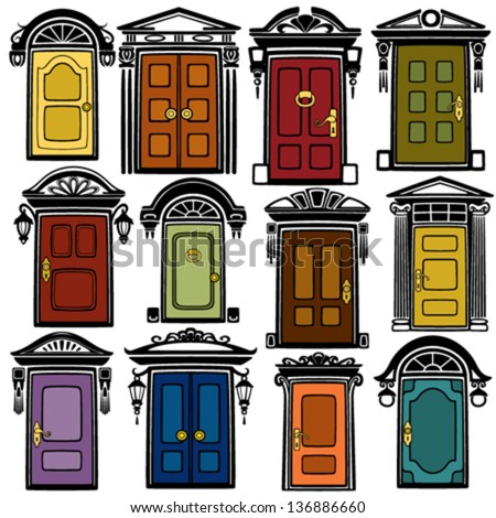 Doors collection - stock vector