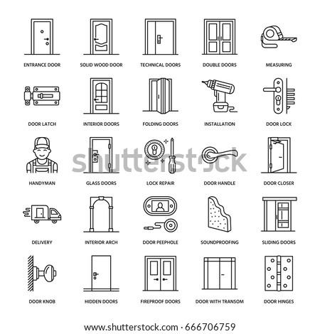 Doors Installation Repair Line Icons Handle Stock Vector