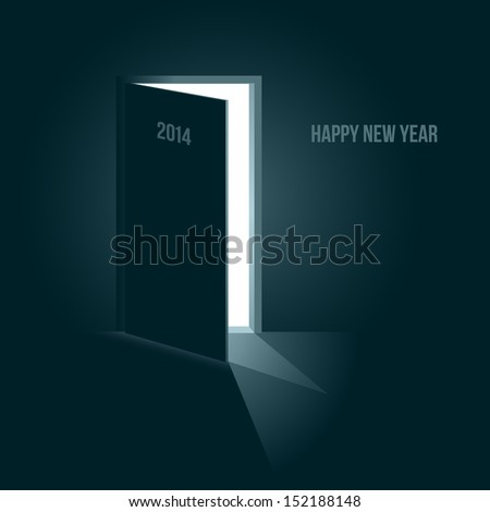 Doors to the new year 2014, symbolic illustration with blue tone - stock vector