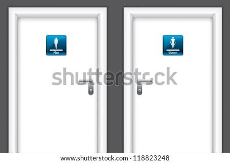 Doors with restroom symbols for man and women - stock vector