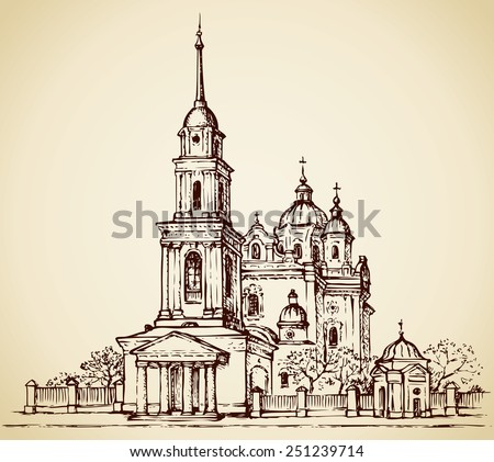 Dormition Cathedral, Poltava, Ukraine. Classical portico with columns at entrance to bell tower with tall steeple. For slatted hedge with shrines is orchard. Vector freehand sketch in engraving style - stock vector