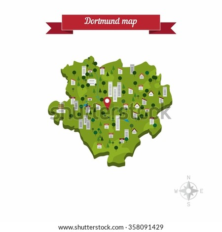 dortmund germany map flat style design vector