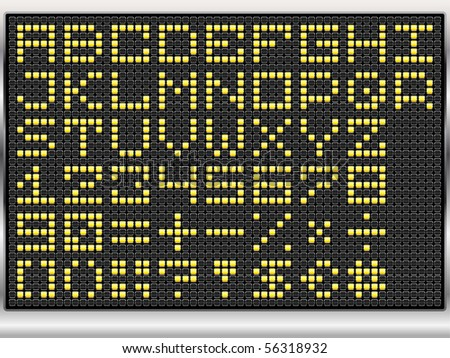 dot alphabet on black electronic display (vector eps10) - stock vector