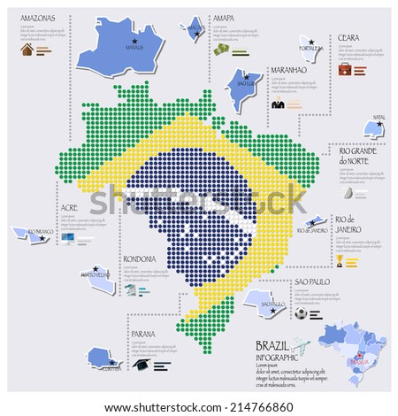 Dot And Flag Map Of Brazil Infographic Design Template - stock vector