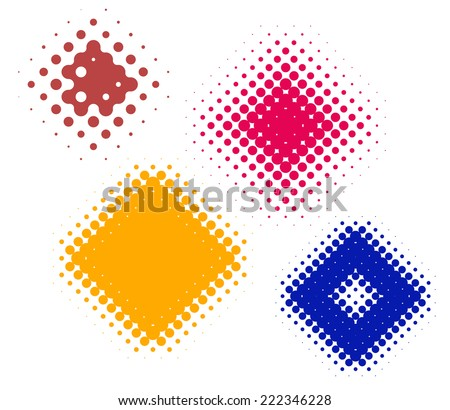 dot gain rhombus done as halftone screens. Illustrations are organized into groups apart from the white background - stock vector